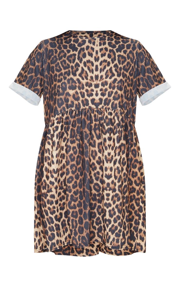 Beige Leopard Print Roll Sleeve Smock Dress 3