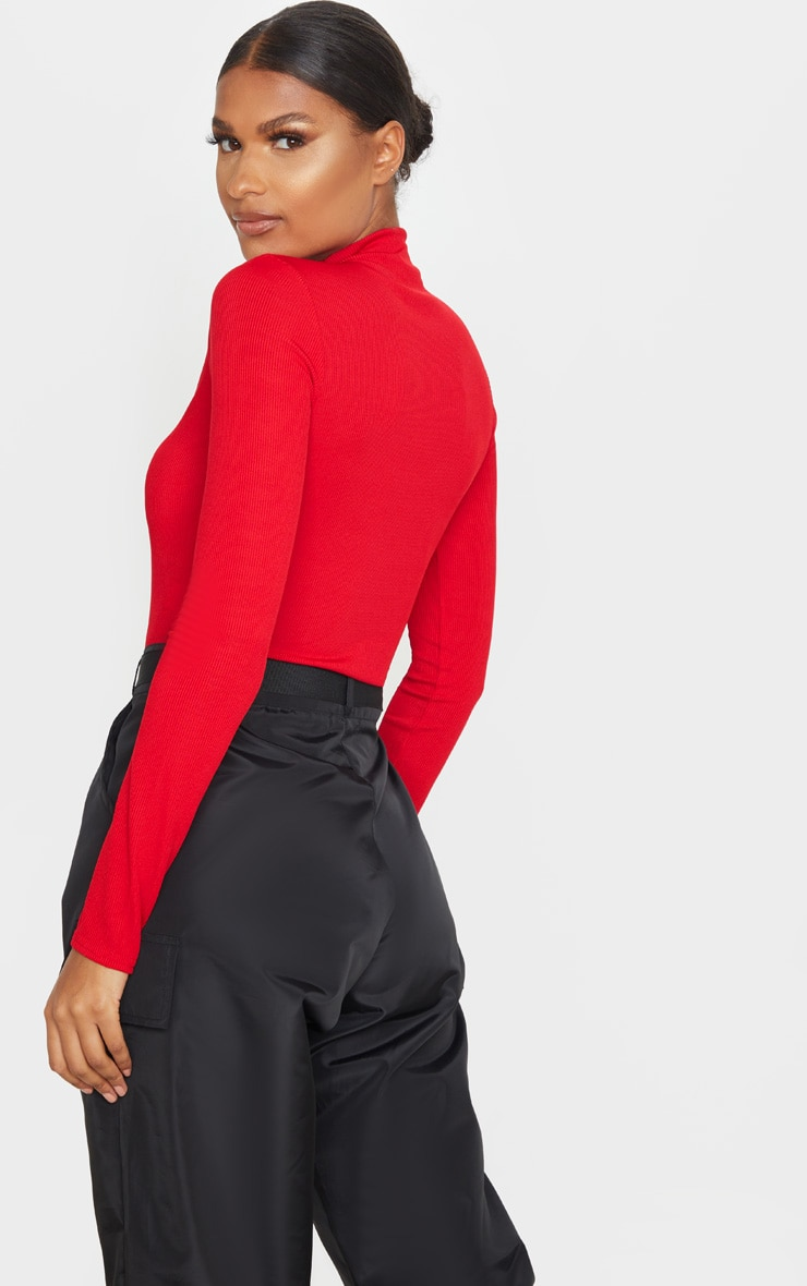Red Rib Funnel Neck Top 2