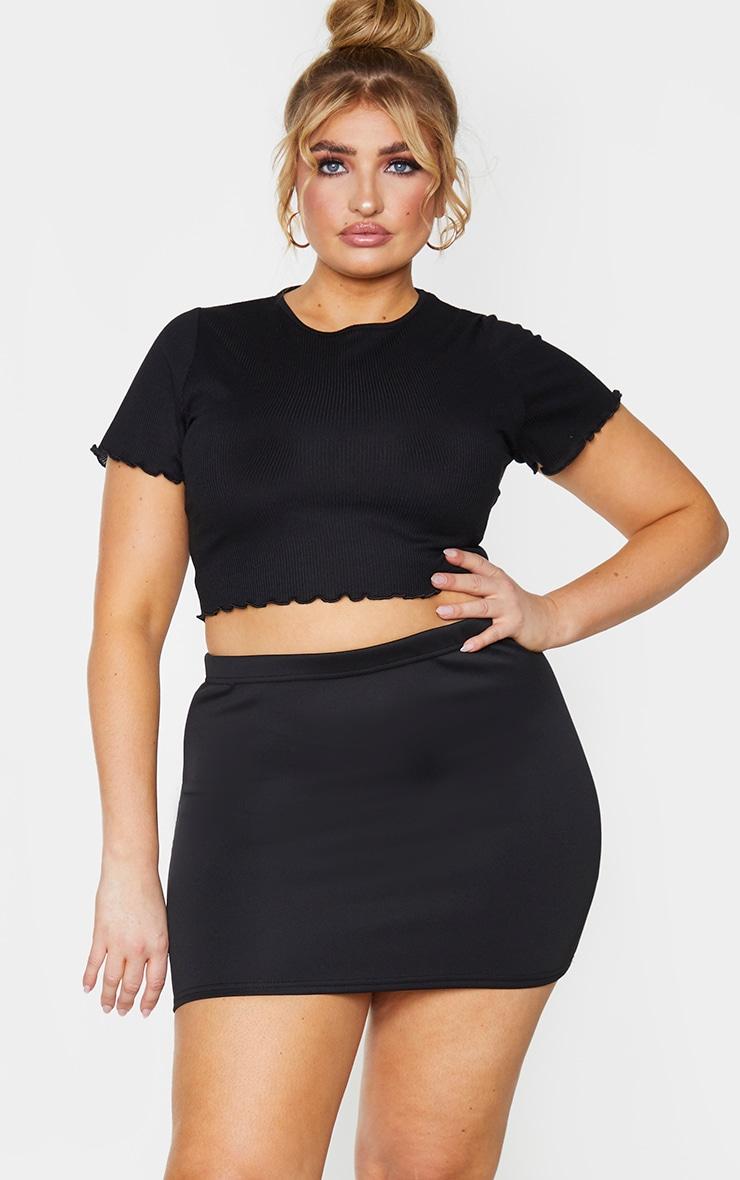 Plus Milah Black Scuba Mini Skirt 1