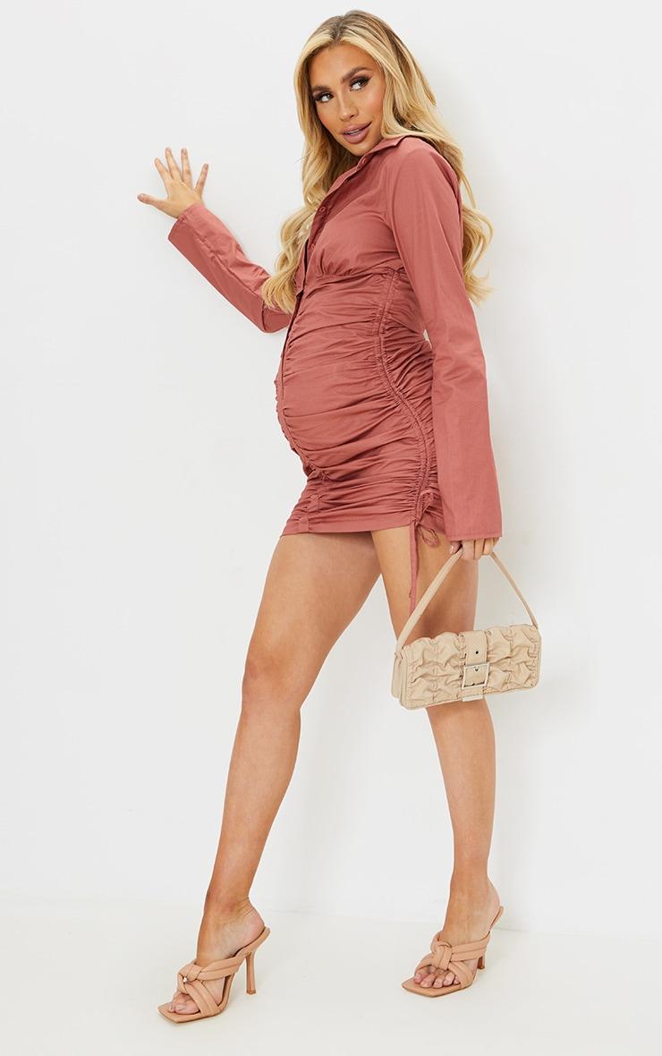 Maternity Rose Ruched Bump Shirt Dress 3