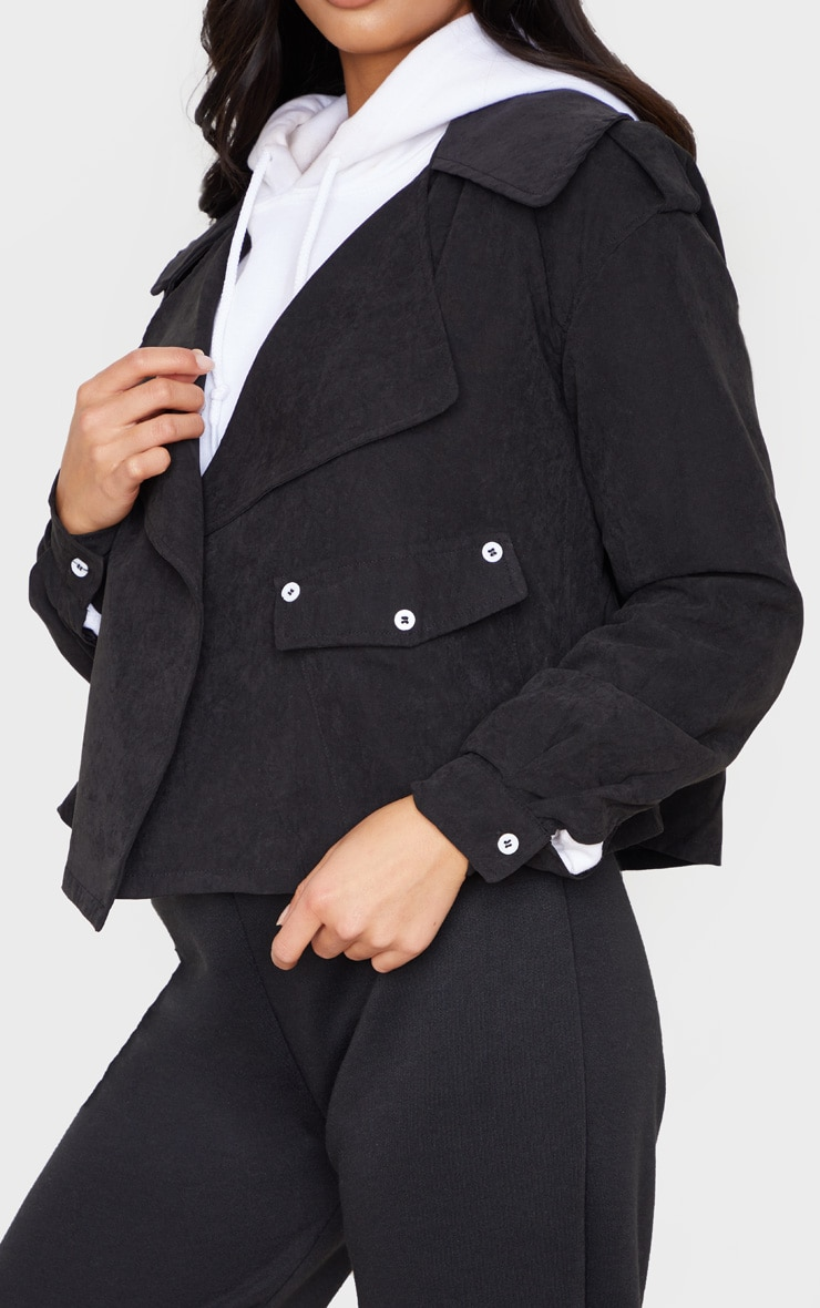 Petite Black Cropped Trench Coat 5