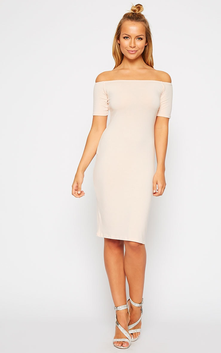 Caty Nude Jersey Bardot Midi Dress 3