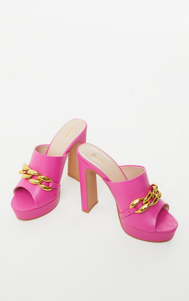 Pink PU Chain Detail Platform High Heeled Mules 3