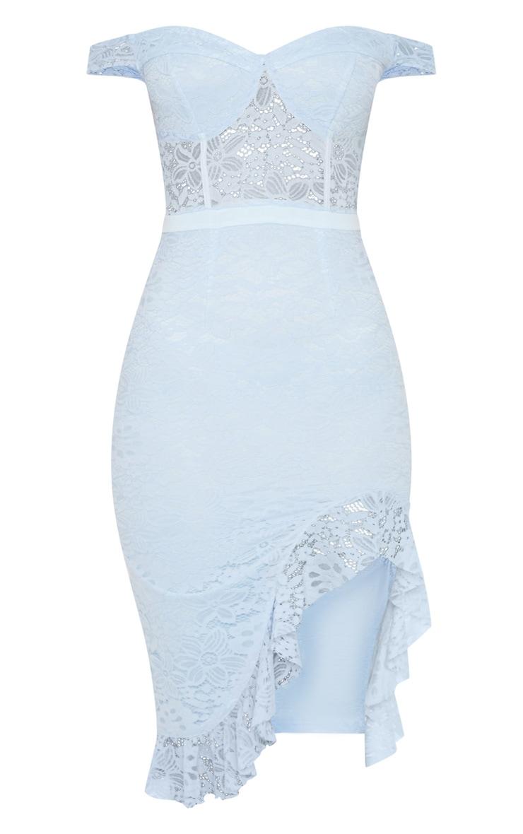 Dusty Blue Lace Bardot Sheer Panel Frill Hem Midi Dress 3