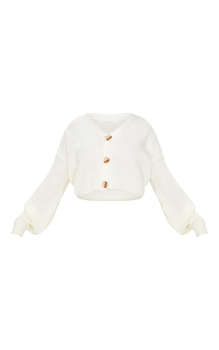 Cream Chunky Knit Button Down Cropped Cardigan 5