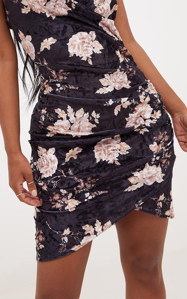 Shape Black Floral Velvet Wrap Front Dress 5