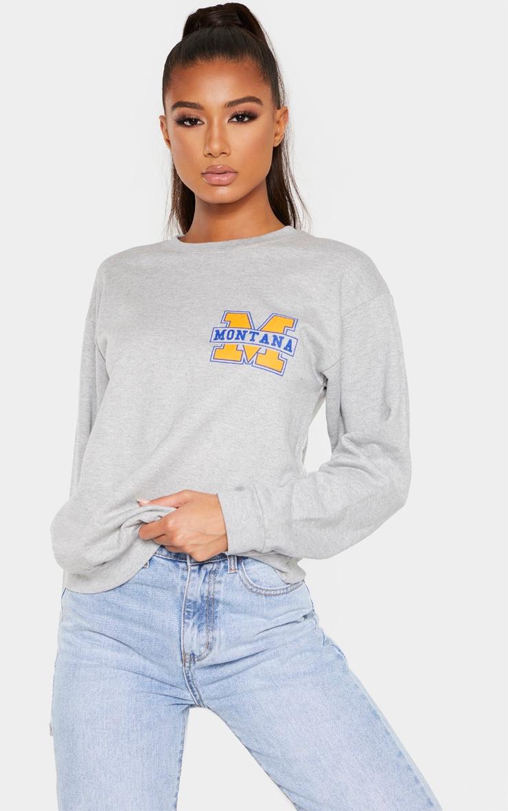 Grey Montana Slogan Sweater 4