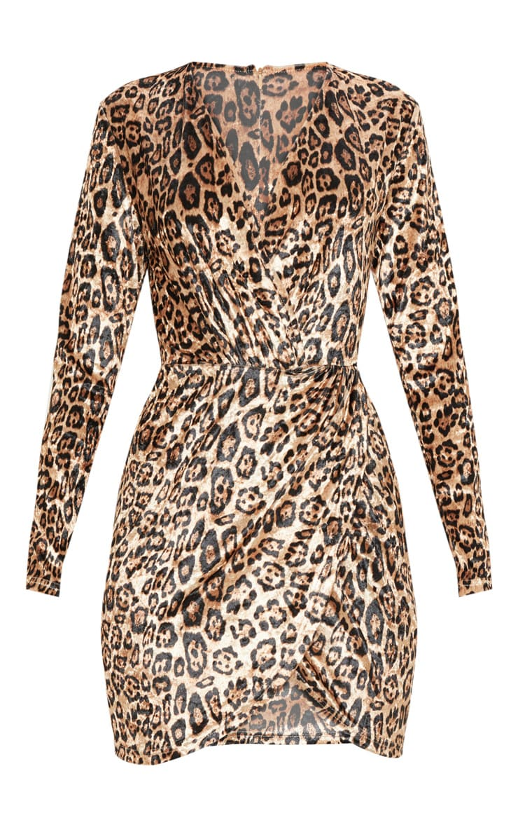 Tan Velvet Leopard Plunge Wrap Bodycon Dress 3