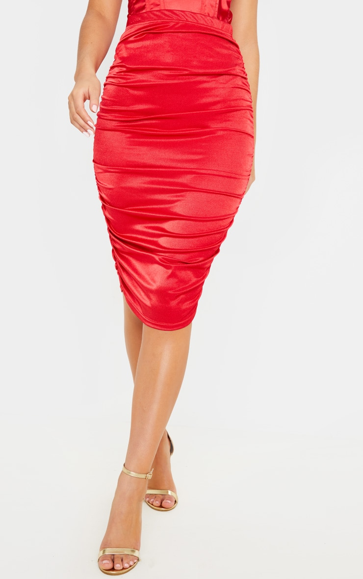 Deep Red Metallic Slinky Ruched Midi Skirt 2