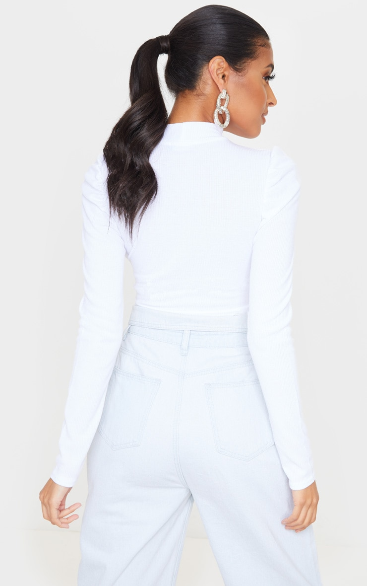 White Rib High Neck Puff Sleeve Top 2