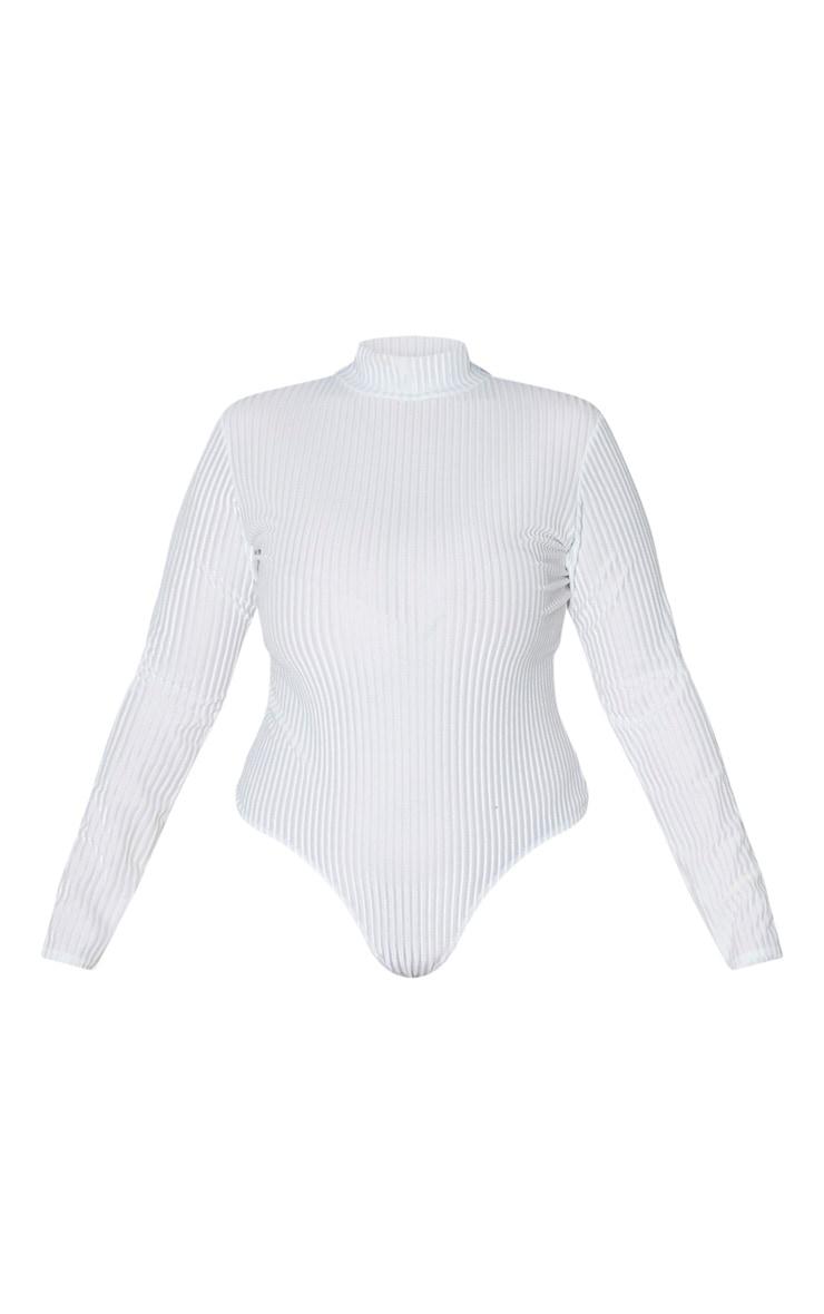 Plus Cream Striped Velvet Bodysuit 3