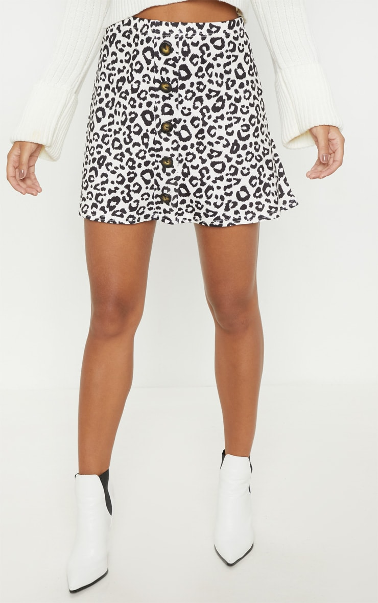 Leopard Print Printed Button Front A Line Skirt 2