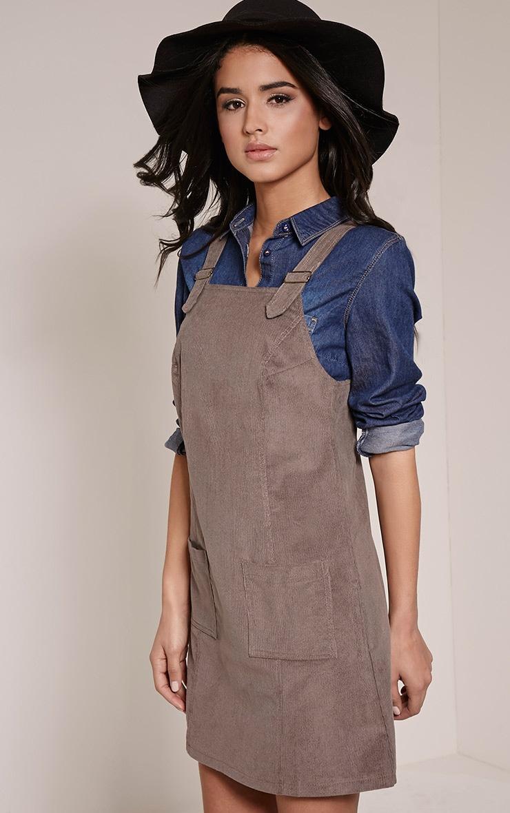 Maxine Grey Cord Pinafore Dress 4