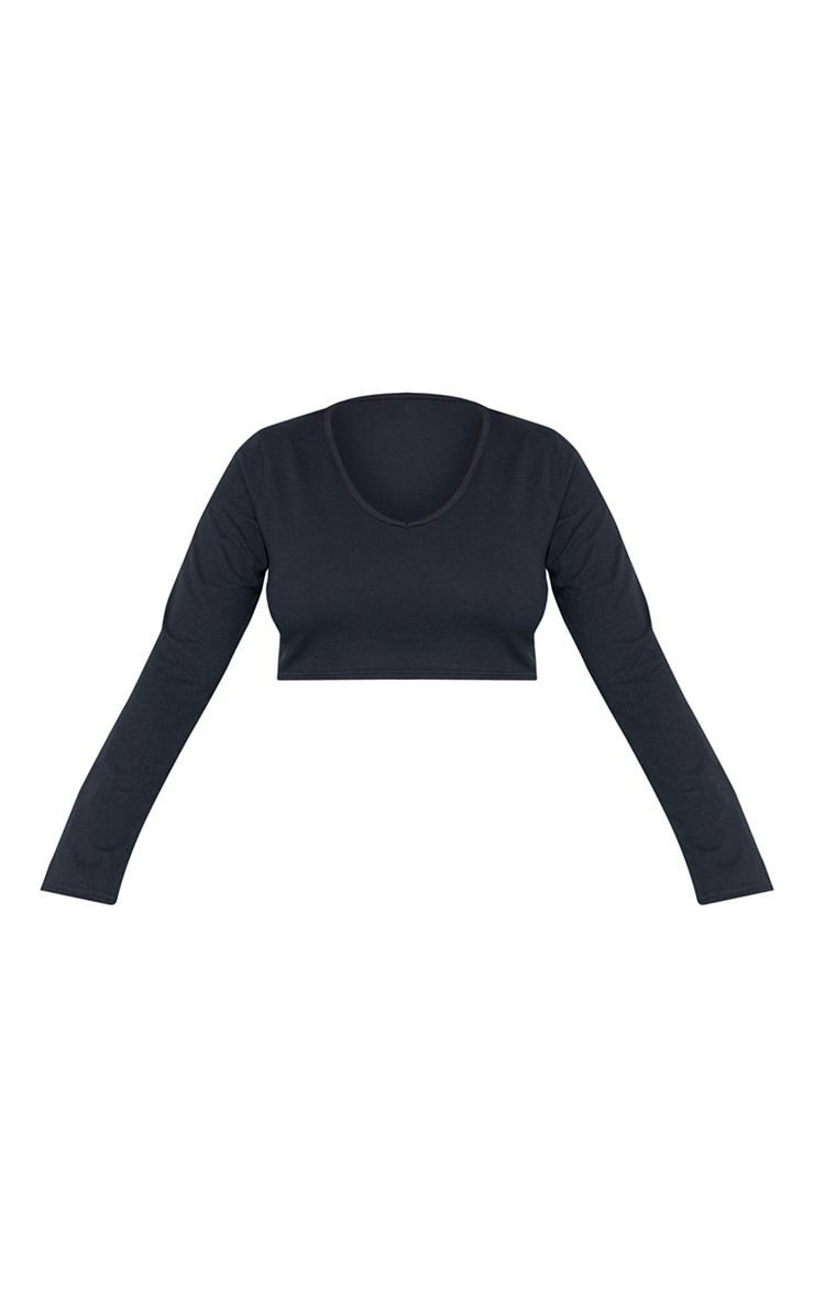 RECYCLED Plus Black Plunge Long Sleeve Crop Top 3