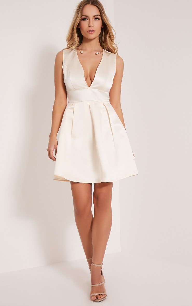 Vienna Cream Plunge Satin Skater Dress 1