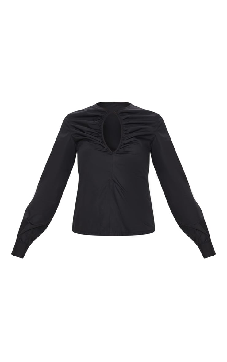 Black Ruched Keyhole Fitted Shirt 3