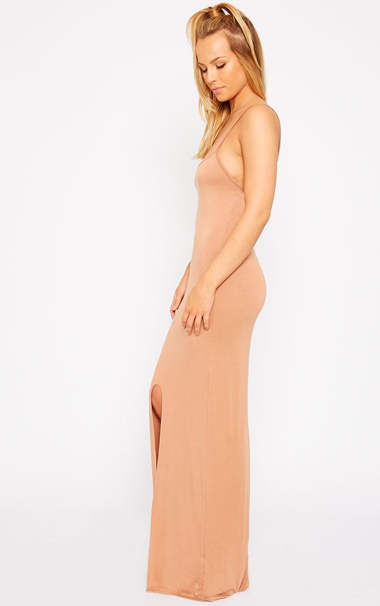Aurelia Camel Front Slit Cami Maxi Dress 4