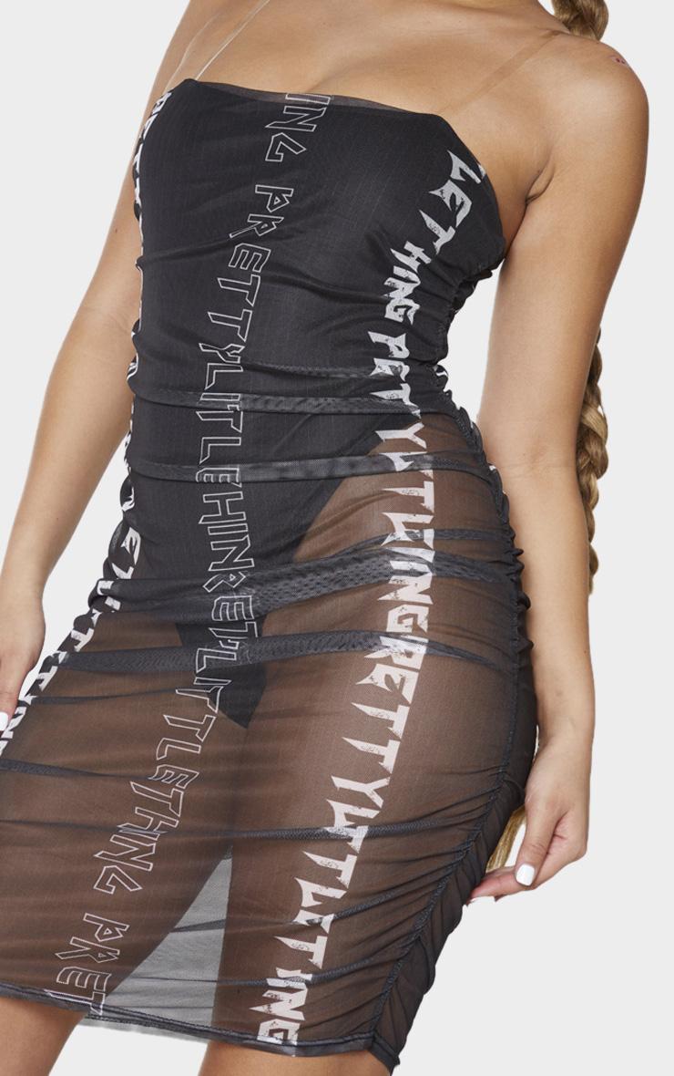 PRETTYLITTLETHING Black Slogan Mesh Clear Strap Bodycon Dress 4