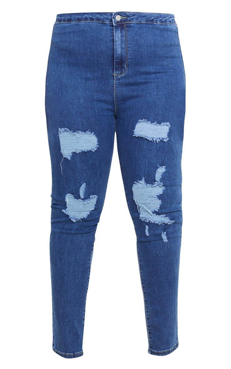 PRETTYLITTLETHING Plus Mid Blue Distressed Disco Jean 3