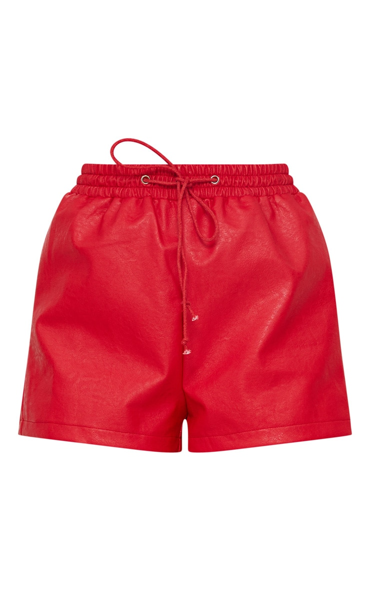 Red Faux Leather Runner Shorts 3