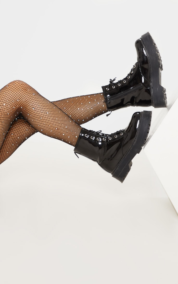 Black Sparkly Iridescence Diamante Fishnet Tights 1