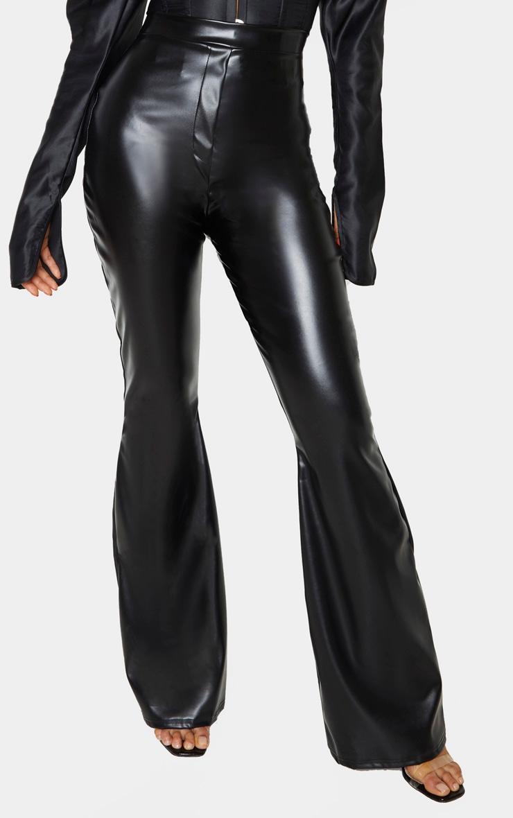 Tall Black PU Flare Trouser 2