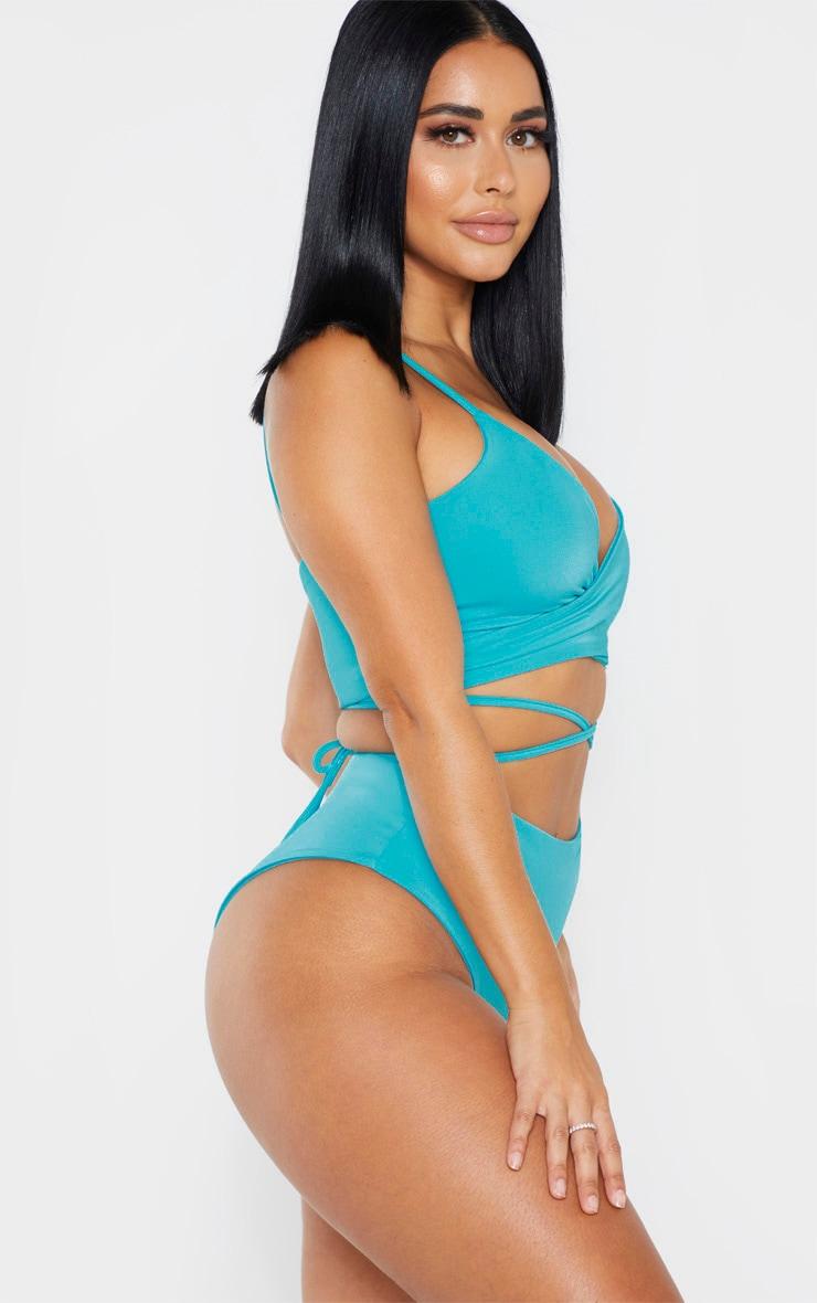 Shape - Bas de bikini bleu turquoise côtelé à taille haute 2