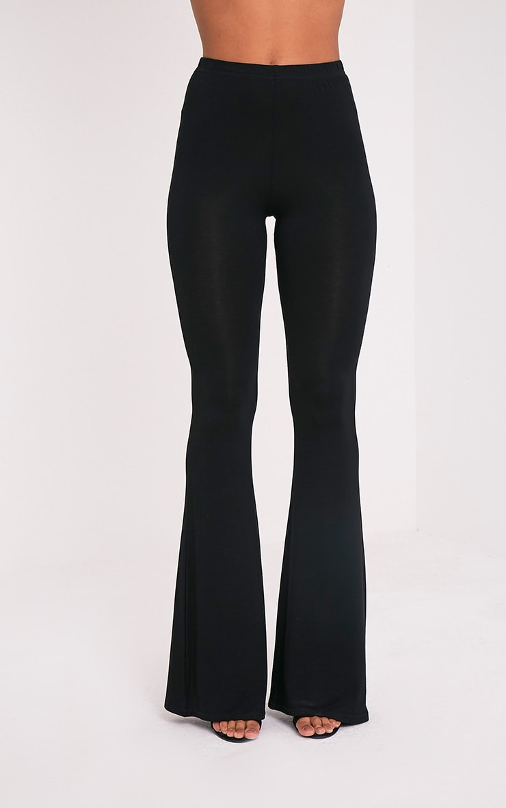 Basic Black Jersey Flared Trousers 2