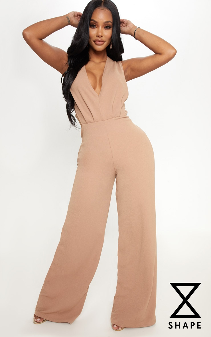 Shape Camel Side Boob Wide Leg Jumpsuit