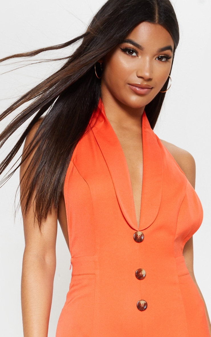 Bright Orange Halterneck Lapel Detail Jumpsuit 5