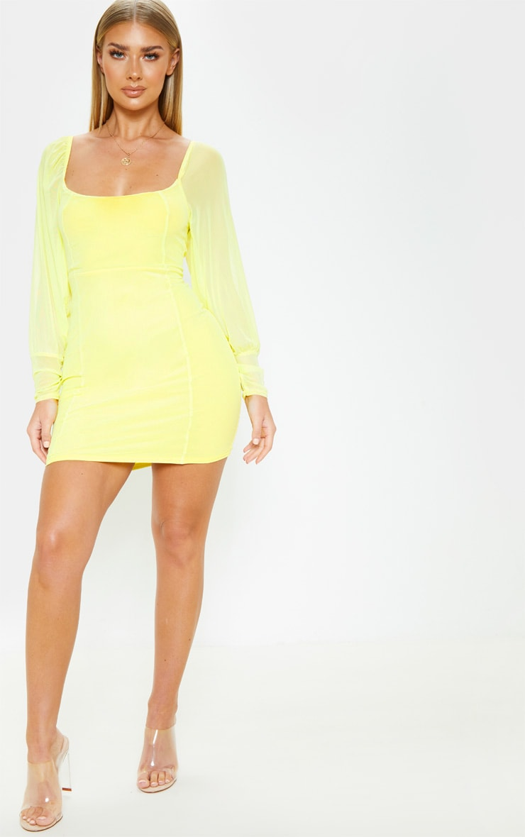 Yellow Mesh Long Sleeve Bodycon Dress 3