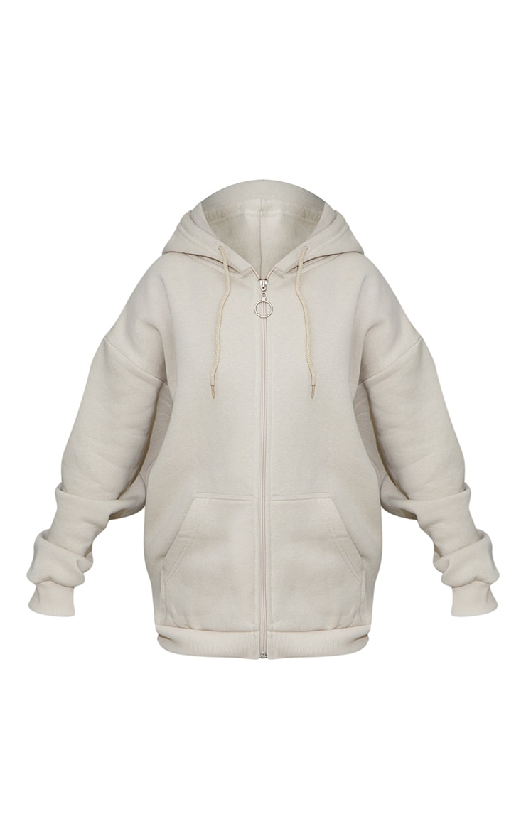 Petite Stone Extreme Oversized Pocket Front Zip Through Hoodie 5