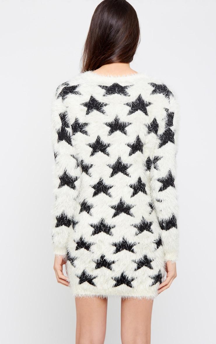 Charvi White Fluffy Longline Star Jumper 2