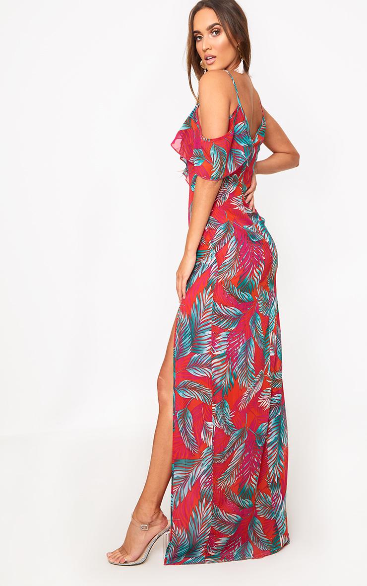 Hot Pink Asymmetric Frill Sleeve Maxi Dress 4