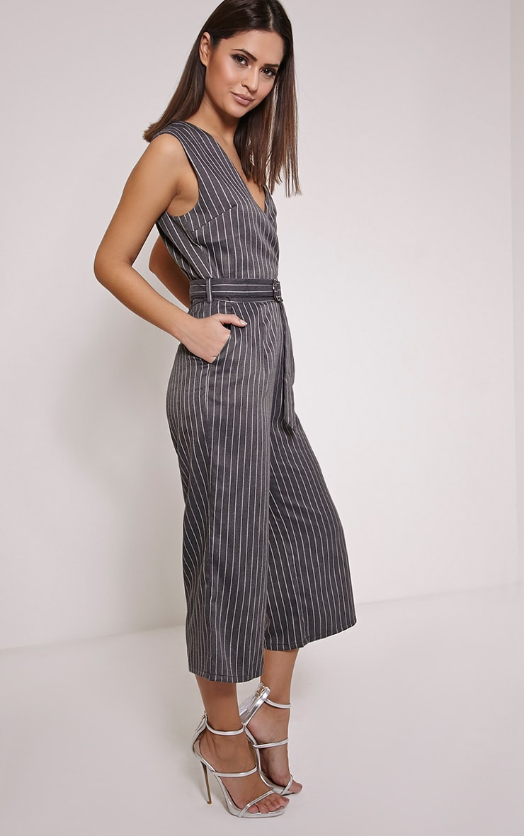 Kimmi Grey Pinstripe D Ring Culotte Jumpsuit 3