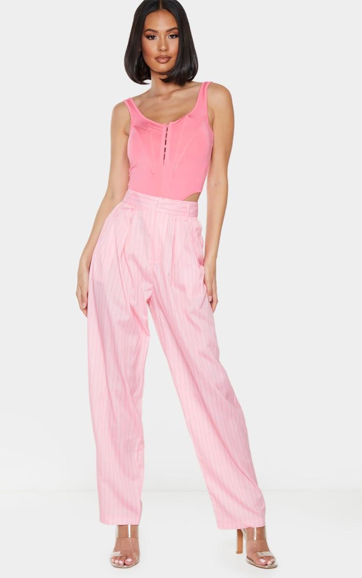 Pink Pinstripe Woven High Waisted Balloon Leg Trousers 1