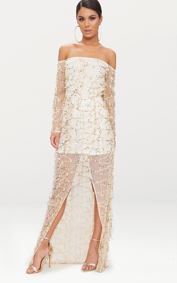 Nude Bardot Sequin Wrap Maxi Dress 1