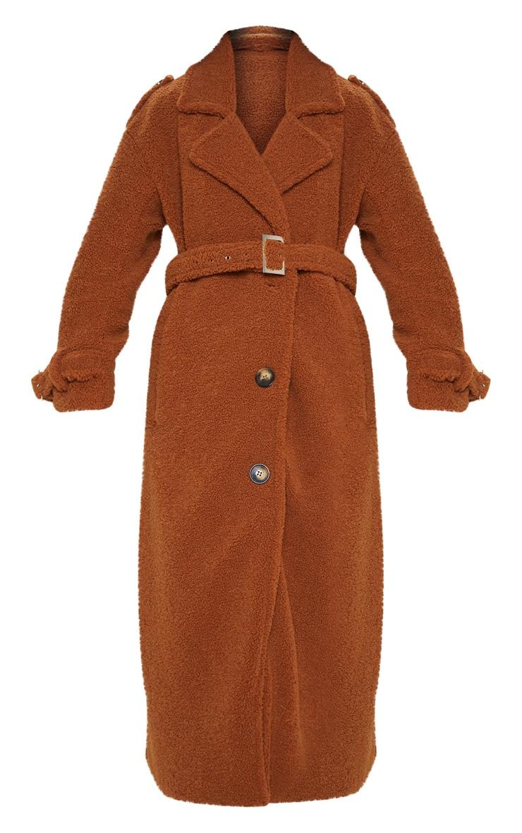 Manteau oversized en faux mouton marron à détail ceinture 3