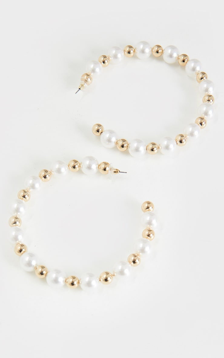 White Pearl Gold Beaded Hoop Earrings 2