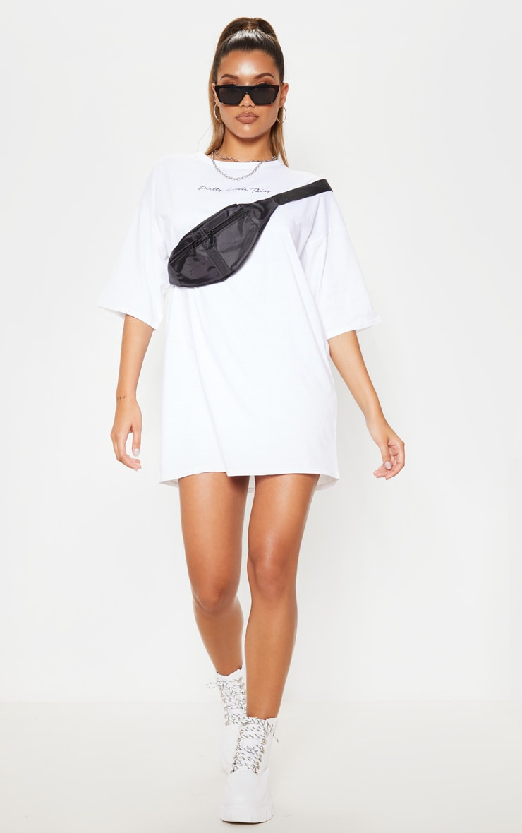 PRETTYLITTLETHING White Ovesized Boyfriend T Shirt Dress 4