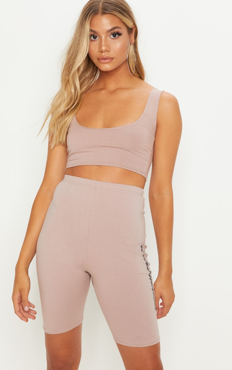 Dusty Pink Cotton Stretch Scoop Neck Crop Top  1