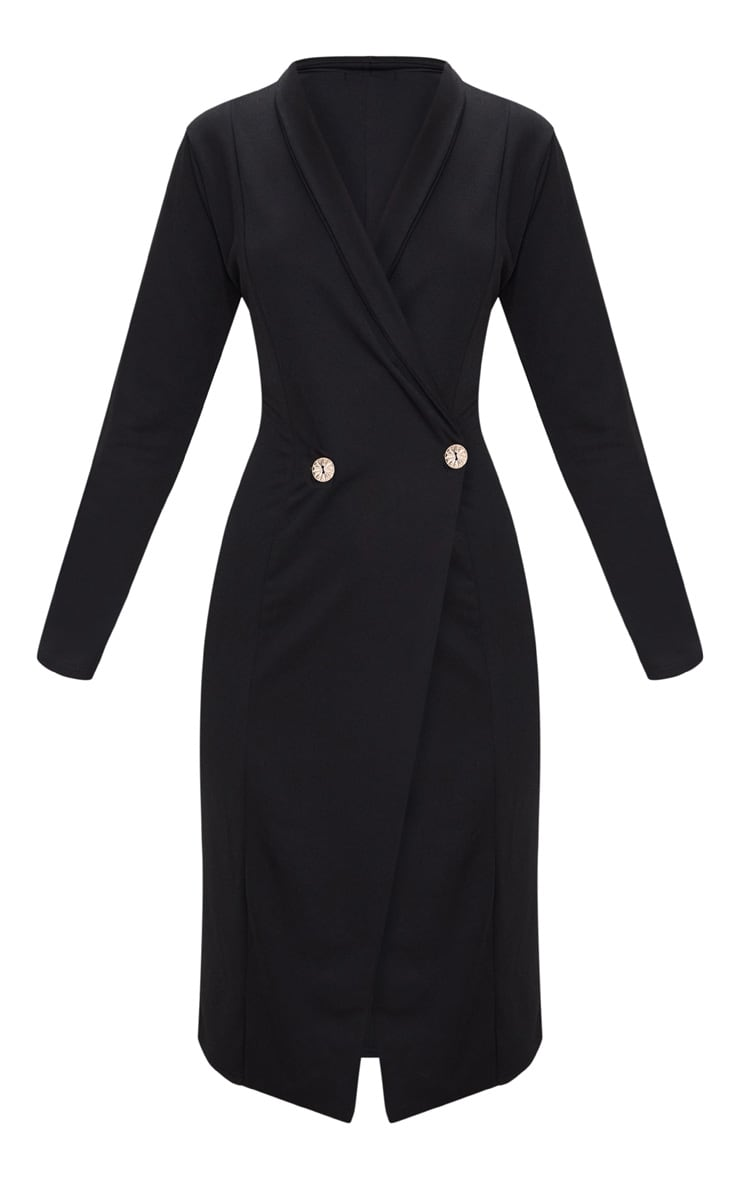 Black Button Detail Blazer Midi Dress 3