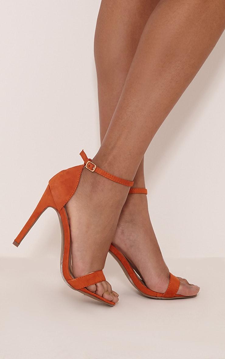 Clover Orange Faux Suede Strap Heeled Sandals 2