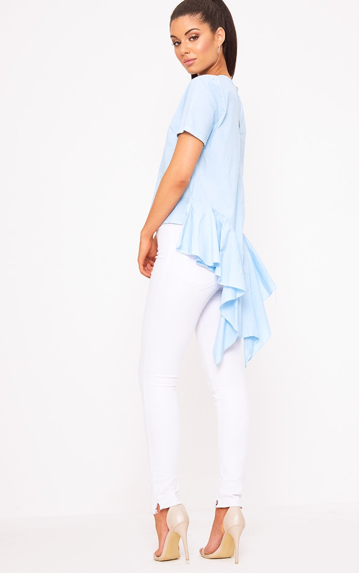 Sky Blue Drop Back Crew Neck Shirt 4