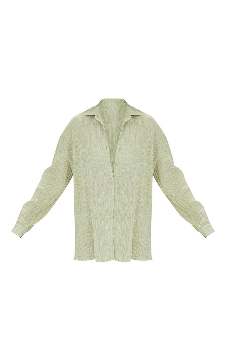 Green Shirred Crinkle Oversized Beach Shirt 5