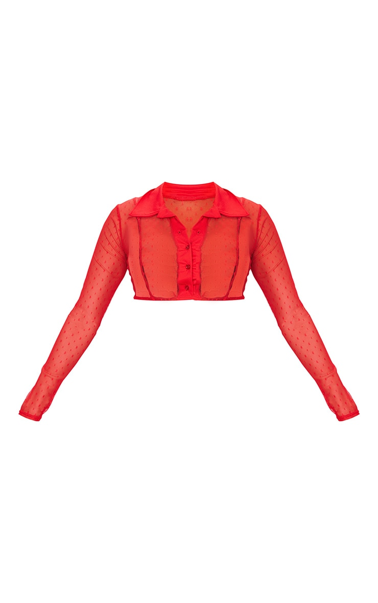 Red Dobby Mesh Cropped Shirt 5