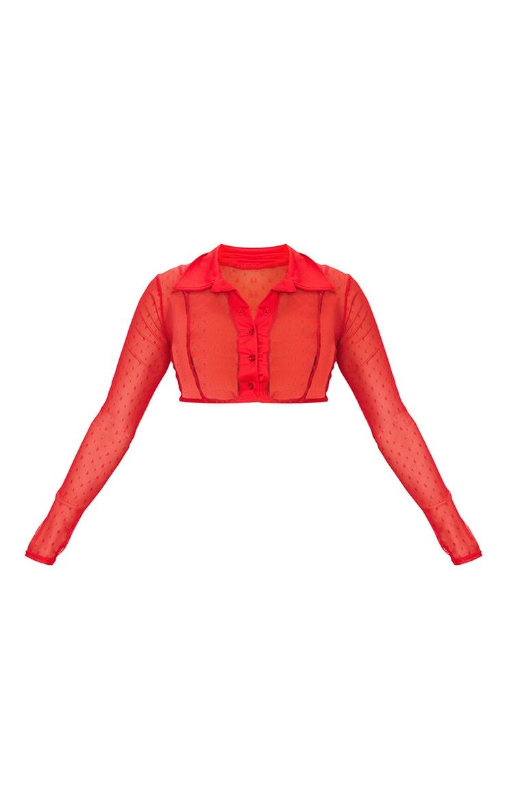 Chemise courte rouge en mesh à pois 5