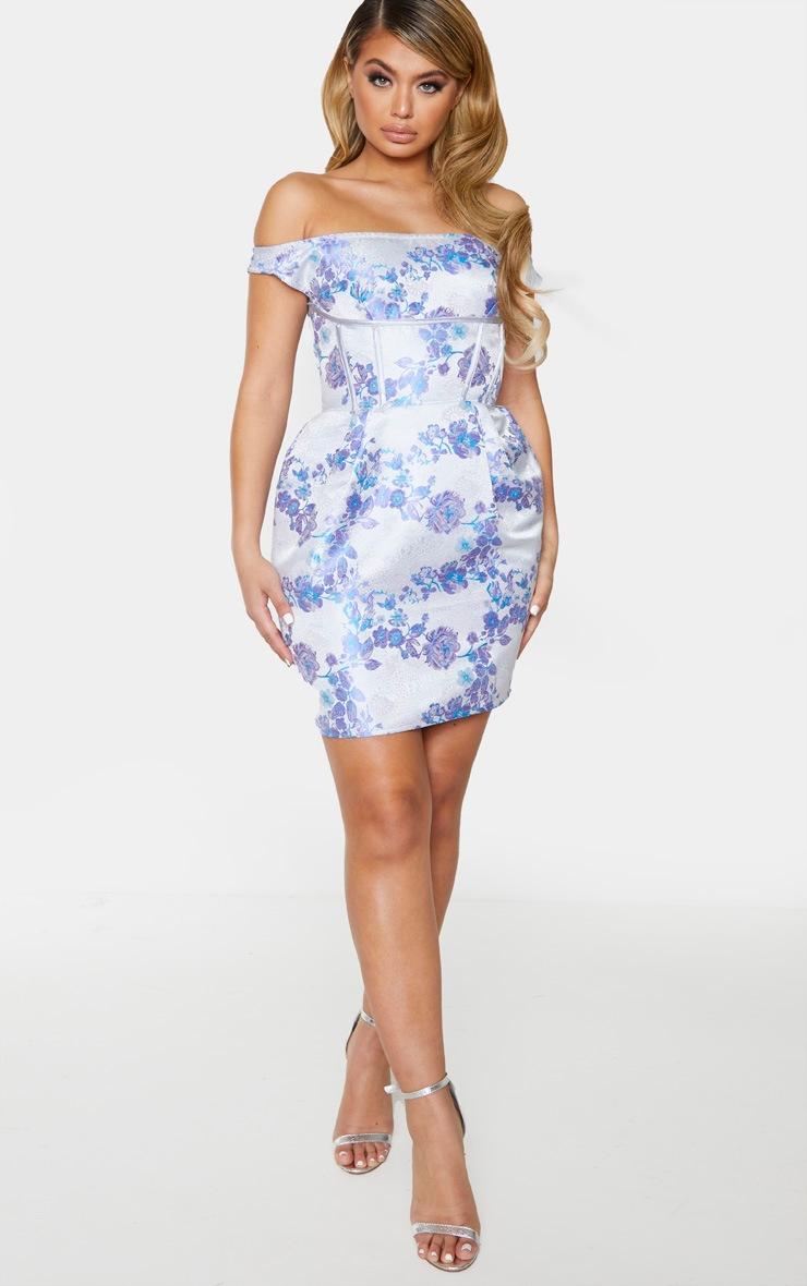 Lilac Bardot Jacquard Floral Bodycon Dress 3