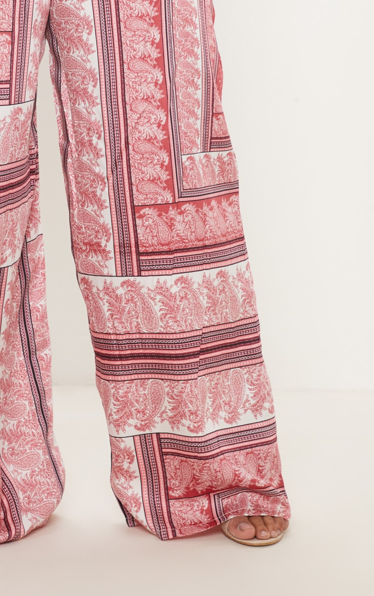 Plus Pink Scarf Print Wide Leg Trouser 6