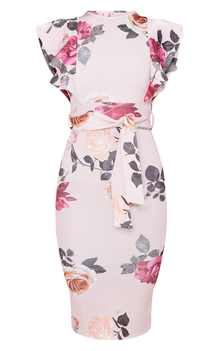 Dusty Pink Floral Print Frill Detail Midi Dress 4